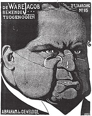 Abraham Kuyper - Caricature of Kuyper by Albert Hahn, from a 1904 edition of the satirical magazine De Ware Jacob.