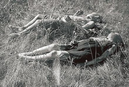 Finnish children killed by Soviet partisans at Seitajarvi in Finnish Lapland 1942. DeadFinnishcivilians1942.jpg