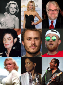 Photomontage of nine celebrities. Refer to caption.