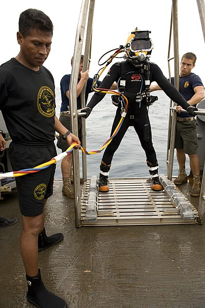 File:Defense.gov News Photo 100722-N-2831C-005 - U.S. Navy Petty Officer 2nd Class Matthew Wilson assigned to Mobile Diving and Salvage Unit 2 waits to be lowered over the side of the USNS Grasp.jpg