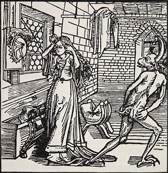 The Book of the Knight of the Tower - The demon of Vanity and the coquette. From the Ritter vom Turn, 1493