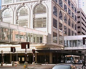 Younkers - The original Younkers store in downtown Des Moines, Iowa. The building was vacated when the store closed on August 12, 2005.  The eastern building was destroyed by fire in the early hours of March 29, 2014.