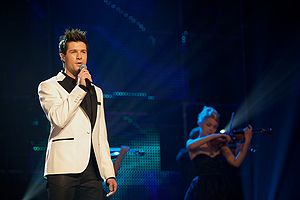 "Norway in the Eurovision Song Contest 2010 - Didrik Solli-Tangen performing ""My Heart is Yours"" during the third semi-final in Skien."