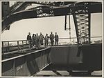 Dignitaries viewing the construction of the Sydney Harbour Bridge, 1930 (8283752820).jpg