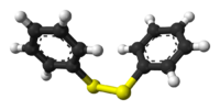 Ball-and-stick model of diphenyl disulfide