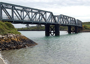 North Cornwall Railway - The North Cornwall line crossed Petherick Creek on this three-span iron bridge, now used to carry the Camel Trail cycleway