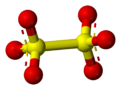 Ball and stick model of dithionate
