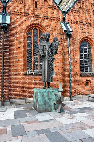 Ribe Cathedral - Statue of Ansgar