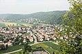 Donaustauf, view from ruined castle to the village Tegernheim.JPG