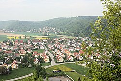 Donaustauf, view from ruined castle to the village Tegernheim.JPG