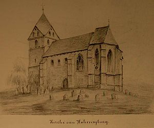 St. Peter, Syburg - The fort-like look of the church in the mid-19th century (artist unknown)