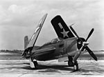 Douglas BTD-1 with folded wings at NAS Patuxent River in June 1944.jpg