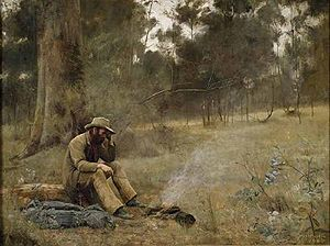 "Swagman - Down on His Luck, painted by Frederick McCubbin in 1889, depicts a melancholic swagman ""on the Wallaby"""
