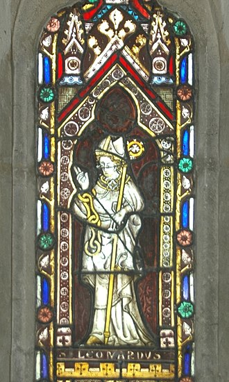 Drayton St. Leonard - Stained glass of St. Leonard of Noblac in the parish church: mid-14th century, restored in 1859
