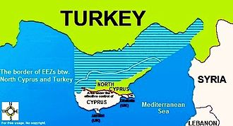 Economy of Northern Cyprus - The border of the exclusive economic zone between Northern Cyprus and Turkey