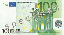 Cent euros, Face recto
