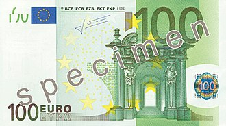 100 euro note - Image: EUR 100 obverse (2002 issue)