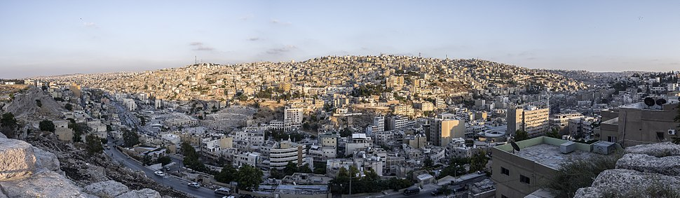 A panoramic view of east Amman from atop the Amman Citadel overlooking the Roman theater.
