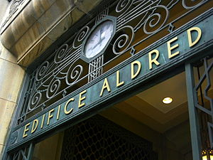 Aldred Building - Labelled arch above the Aldred Building's main entrance