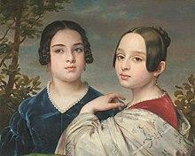 Rahel Varnhagens Lieblings-Großnichten Elise und Pauline Casper. Doppelporträt von Eduard Magnus (um 1840) (Quelle: Wikimedia)
