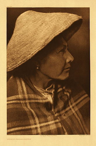 Quinault people - Quinault female profile by Edward S. Curtis, 1913