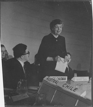 United Nations Commission on Human Rights - Eleanor Roosevelt at United Nations for Human Rights Commission meeting in Lake Success, New York in 1947