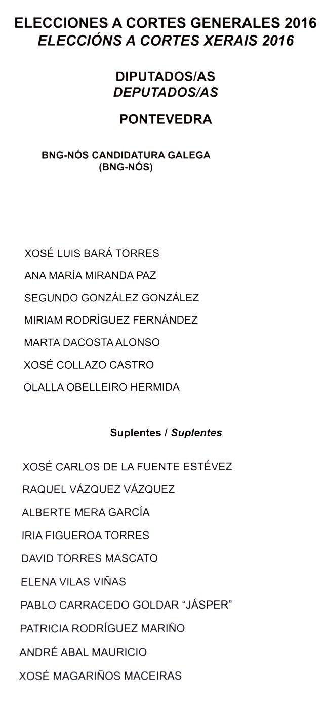 Eleccións a Cortes Xerais 2016. Deputados. Pontevedra. BNG-NÓS
