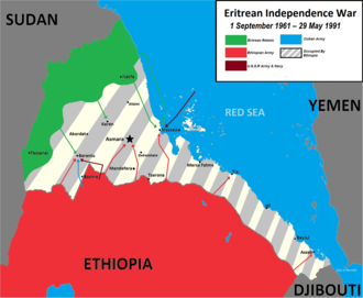 Eritrean War of Independence against Ethiopia 1961-1991 Eritrean Independence War Map.png