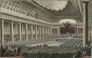 Estates General (France) - Opening of the Estates General on May 5, 1789 in the Grands Salles des Menus-Plaisirs in Versailles.