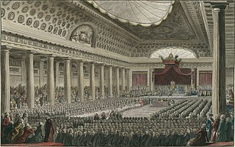 Right-wing politics - 5 May 1789, opening of the Estates-General in Versailles in 1789, as the conservatives sat on the right
