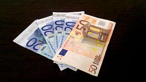 Euro banknotes - 20 and 50 Euro banknotes.