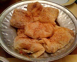 Armenian cuisine - Typical homemade byorek, with meat, caramelized onion and bell pepper filling