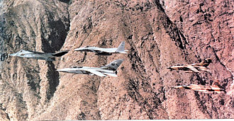 37th Training Wing - 37th Tactical Fighter Wing (Provisional) F-117A Nighthawk leading a formation of Royal Saudi Air Force aircraft over the desert during Operation Desert Storm.
