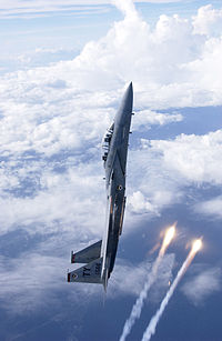 F-15 Eagle in a near vertical climb
