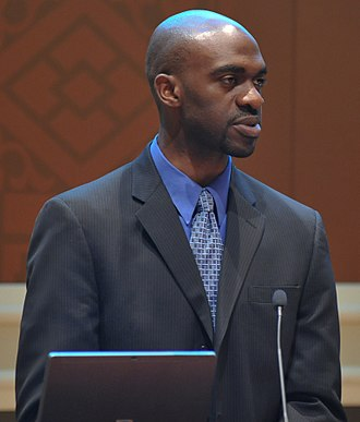 Michael Blake (politician) - Image: FEMA 43929 Michael Blake, from the White House, addresses the FEMA Black Le (cropped)