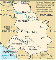A map of Yugoslavia from the 2000 edition of The World Factbook. Notice how the disclaimer is printed in the upper right hand corner. One can see how the capital cities of both republics are individually labeled on the map.