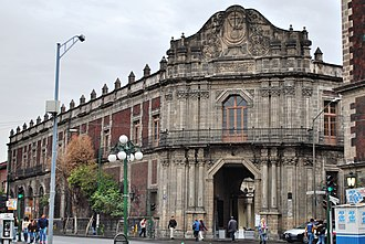"Palace of the Inquisition - Facade of the building showing the ""cut off"" canted corner facing Santo Domingo Plaza"