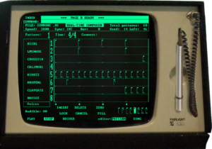 "Music workstation - ""Page R"" pattern editing software on Fairlight CMI Series II (1980) realized the interactive composition of music using sampling sound"