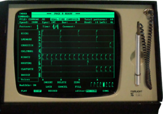 """Music workstation - """"Page R"""" pattern editing software on Fairlight CMI Series II (1980) realized the interactive composition of music using sampling sound"""