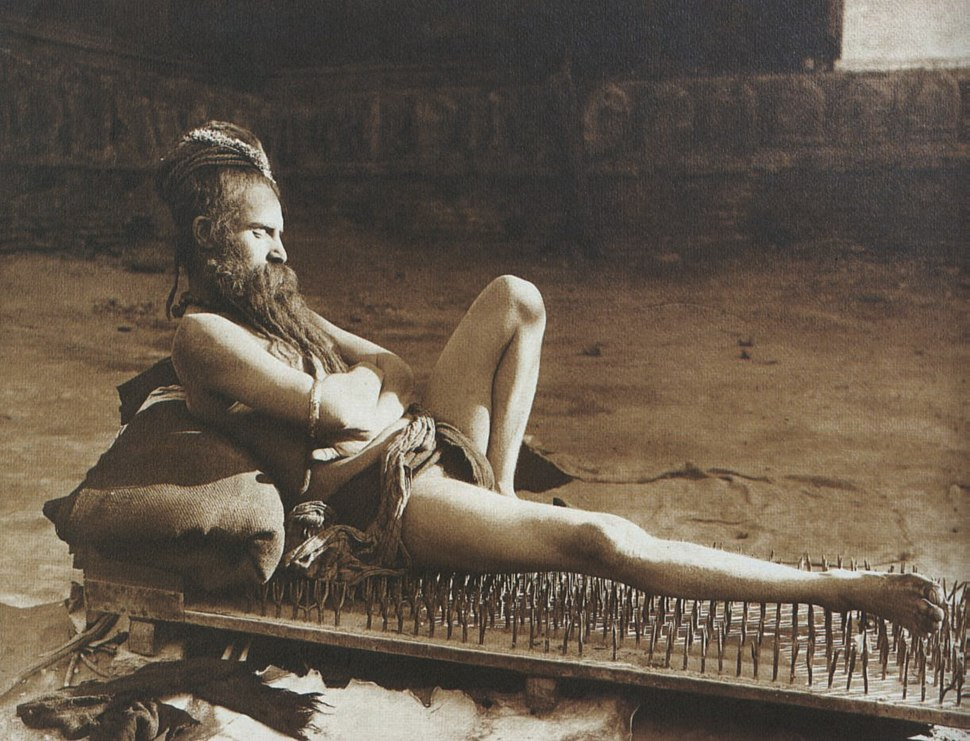 Fakir on bed of nails Benares India 1907