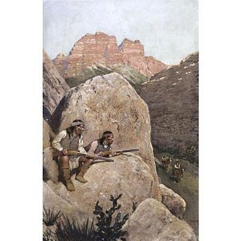 Hiding behind a rock, two Apaches plan to ambush a traveler.