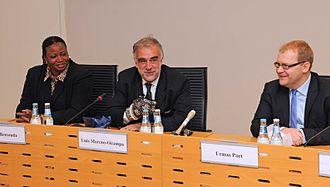 International Criminal Court - ICC prosecutors Fatou Bensouda and Luis Moreno Ocampo, with Estonia's Minister of Foreign Affairs, Urmas Paet, in 2012