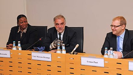 ICC prosecutors Fatou Bensouda and Luis Moreno Ocampo, with Estonia's Minister of Foreign Affairs, Urmas Paet, in 2012 Fatou Bensouda5.jpg