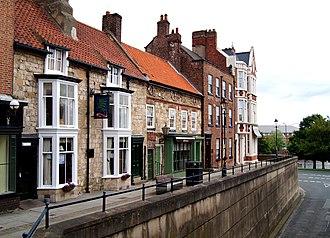 Stockton-on-Tees - Row of historic buildings in Finkle Street.
