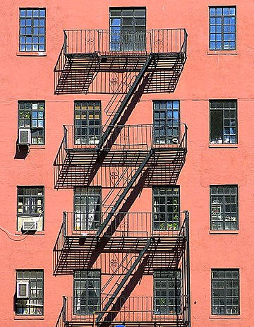 Fire escape in Greenwich Village Fire escape, West 10th Street, Greenwich Village, NYC.jpg