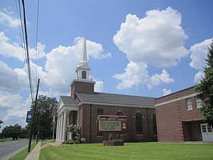 Tallulah, Louisiana - First Baptist Church across from Brushy Bayou in Tallulah