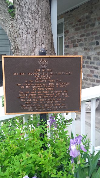 South-West Oxford - First Baseball Game Plaque - Beachville Ont.