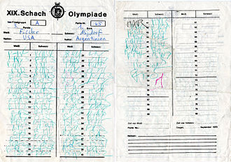 Chess Olympiad - Bobby Fischer's score card from his round 3 game against Miguel Najdorf in the 1970 Chess Olympiad.