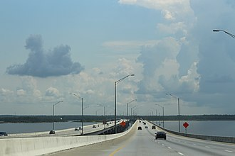 Escambia Bay Bridge - On bridge heading east