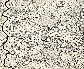 Diefflen - River terraces in the estuary of the Prims in the Saar; Dil = Dillingen/Saar, Di = Diefflen, Na = Nalbach, Pi = Piesbach, Bettstadt, Bi = Bilsdorf, Kö = Körprich; I = Sole terrace, II = Lower terrace, III = Lower main terrace, IV = Upper main terrace, V = Middle terrace, VI = High terrace, VII = Trough terrace (Geographical division: Johann Jakob Reichrath)